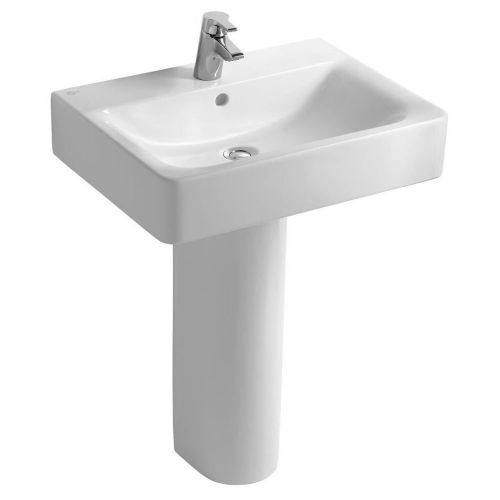 Ideal Standard Concept Cube Washbasin 55cm 1 Tap Hole With Full Pedestal