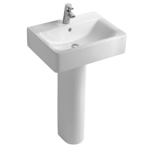 Ideal Standard Concept Cube Washbasin 50cm 1 Tap Hole With Full Pedestal