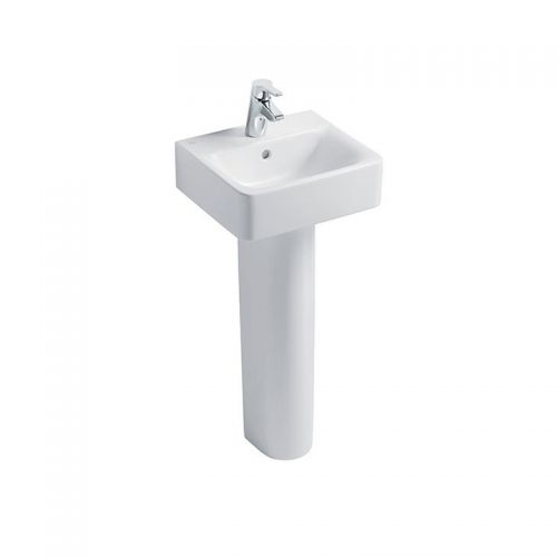 Ideal Standard Concept Cube Washbasin 40cm 1 Tap Hole With Full Pedestal