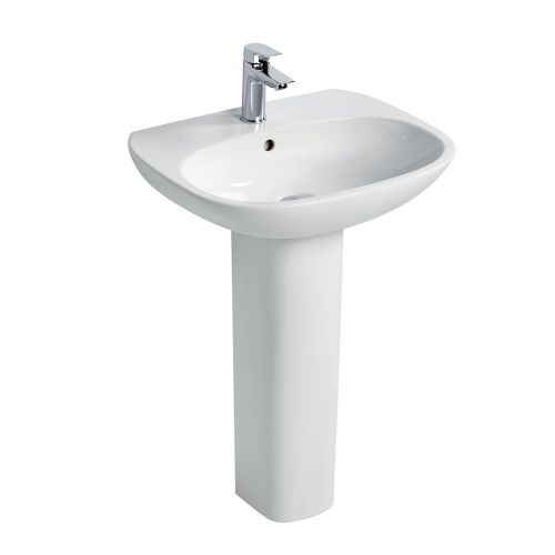 Ideal Standard Tesi Basin 55cm 1 Tap Hole With Full Pedestal