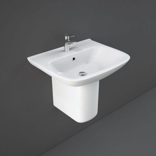 Rak Origin Basin 52cm 1 Tap Hole With Half Pedestal