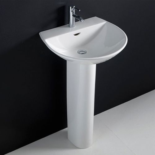 Rak Reserva Basin 550mm 1 Tap Hole With Half Pedestal