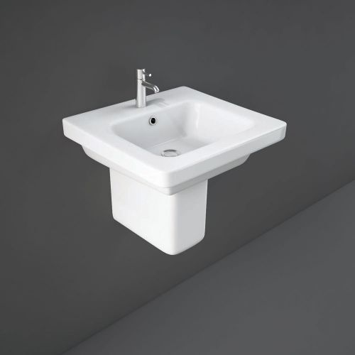 Rak Resort Basin 55cm 1 Tap Hole With Half Pedestal