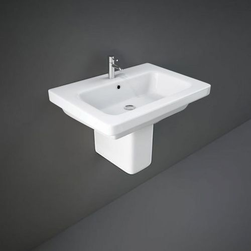 Rak Resort Basin 65cm 1 Tap Hole With Half Pedestal