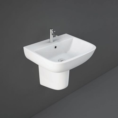 Rak Series 600 Basin 52cm 1 Tap Hole With Half Pedestal