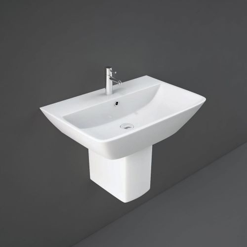 Rak Summit Basin 60cm 1 Tap Hole And Half Pedestal