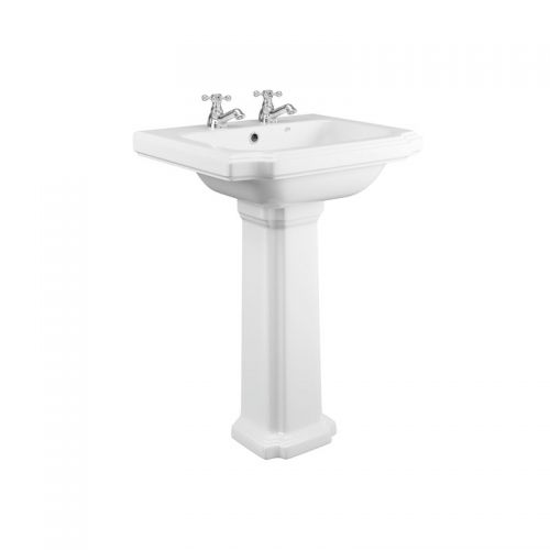 Synergy Henbury 600mm 2 Tap Hole Basin & Full Pedestal