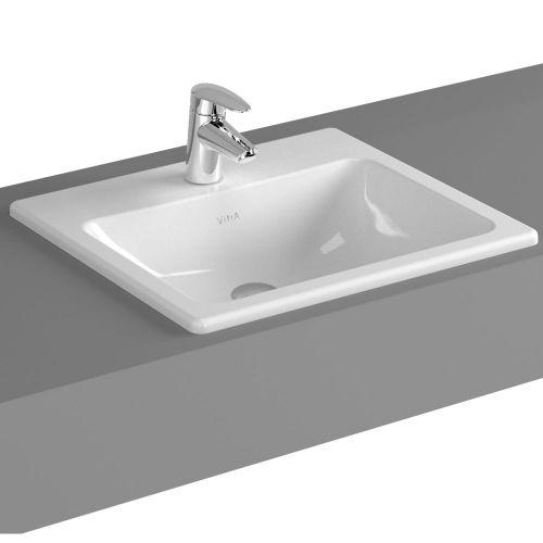 Vitra S20 Countertop Washbasin Square 50cm 1 Tap Hole 5464B003-0001