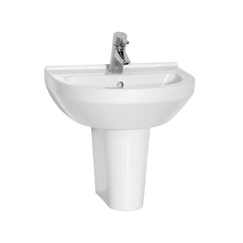 Vitra S50 Washbasin Round 60cm 1 Tap Hole And Half Pedestal