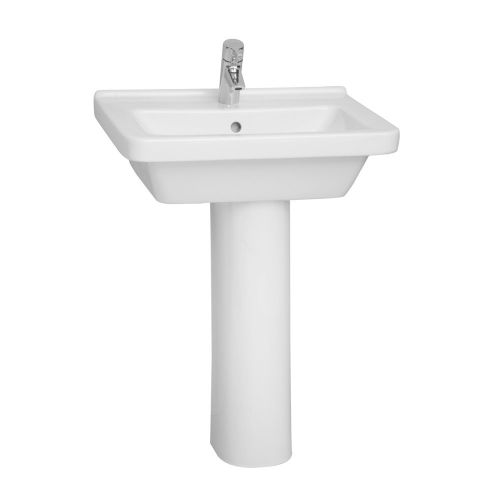 Vitra S50 Washbasin Square 60cm 1 Tap Hole And Full Pedestal