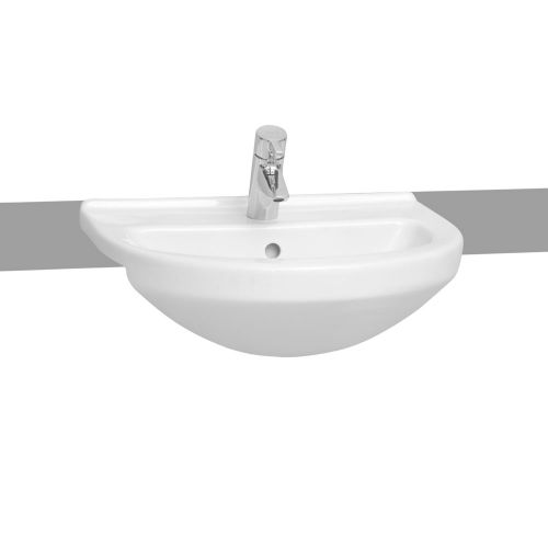 Vitra S50 Washbasin Semi Recessed Round 55cm 1 Tap Hole 5307B003-0001