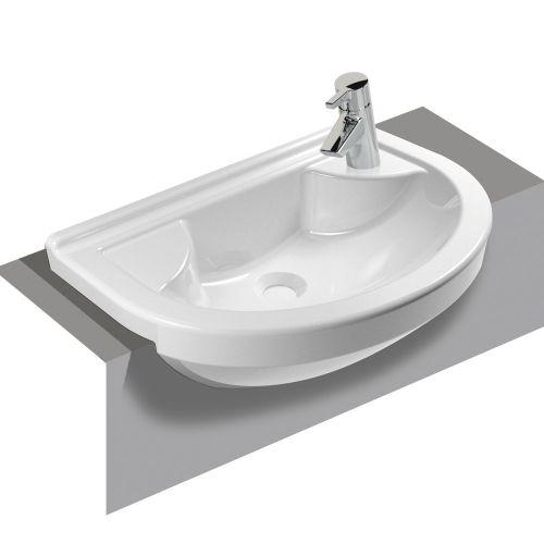 Vitra S50 Washbasin Right Hand Compact Semi-Recessed 55cm 1 Tap Hole 5597B003-0029