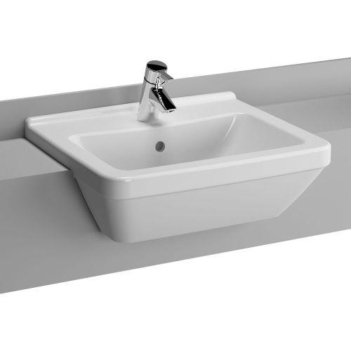 Vitra S50 Washbasin Semi Recessed Square 55cm 1 Tap Hole 5598B003-0001