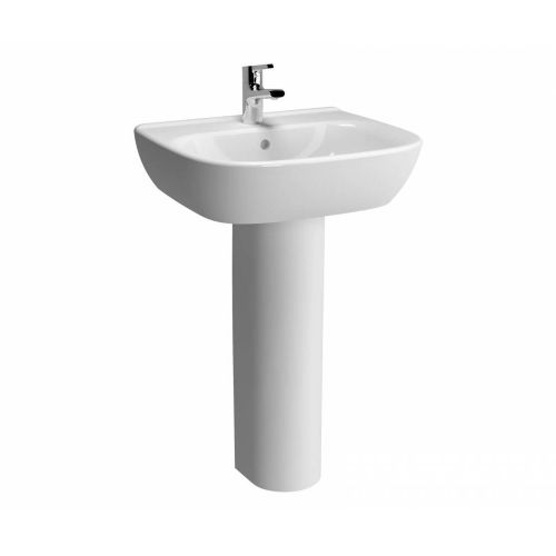 Vitra Zentrum Washbasin 55cm 1 Tap Hole And Full Pedestal