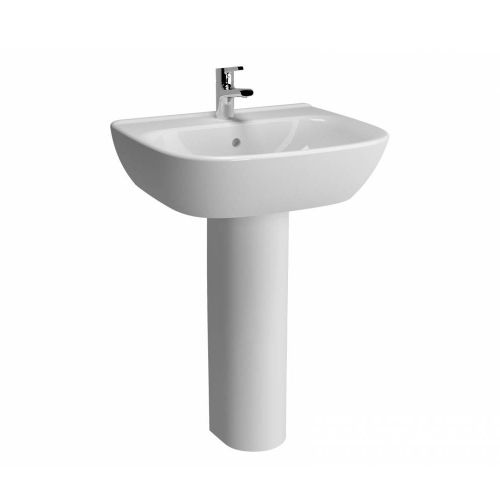 Vitra Zentrum Washbasin 60cm 1 Tap Hole And Full Pedestal