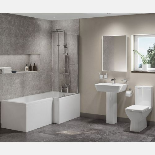 L Shape Shower Bath Suite With Basin, Pedestal & Toilet