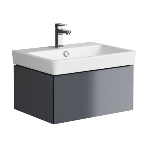 Synergy Berg Grey 600mm Wall Mounted Vanity Unit and Basin