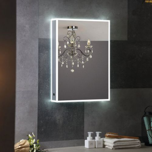 Synergy Berg Aluminium Mirror Cabinet with IR Switch and Shaver Socket 525 x 725mm