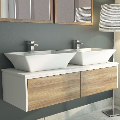 Synergy Float Driftwood 1200mm Wall Mounted Vanity Unit, Stone Top & Basins