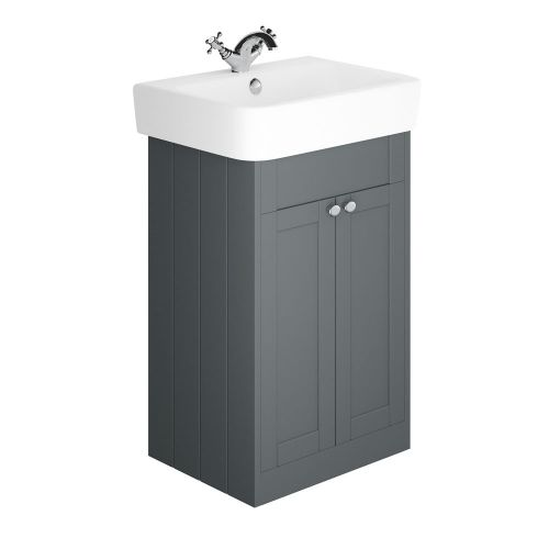 Synergy Henbury Grey 600mm Floor Mounted Vanity Unit with Basin