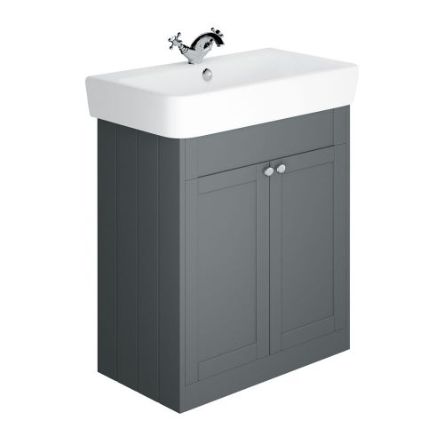 Synergy Henbury Grey 800mm Floor Mounted Vanity Unit with Basin