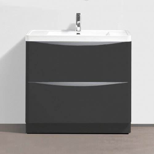 Synergy Kiev Grey Matt 900mm Floor Mounted Vanity Unit and Basin