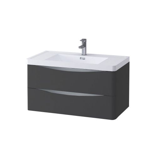 Synergy Kiev Grey Matt 900mm Wall Mounted Vanity Unit and Basin