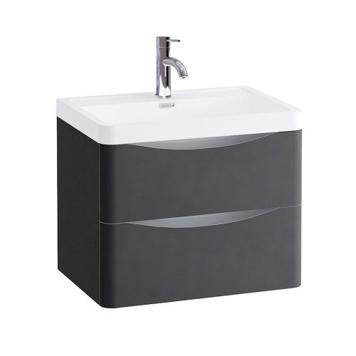 Synergy Kiev Grey Matt 600mm Wall Mounted Vanity Unit and Basin