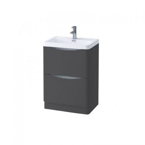 Synergy Kiev Grey Matt 600mm Floor Mounted Vanity Unit and Basin