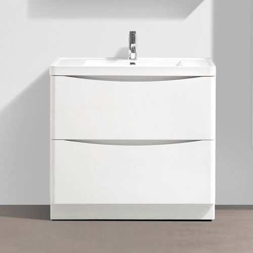 Synergy Kiev White Gloss 900mm Floor Mounted Vanity Unit and Basin