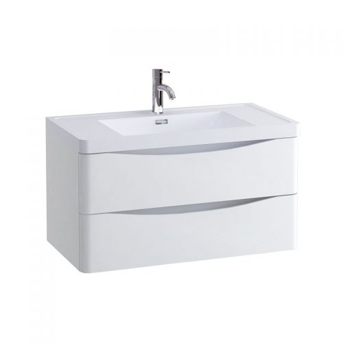 Synergy Kiev White Gloss 900mm Wall Mounted Vanity Unit and Basin