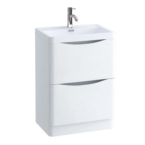 Synergy Kiev White Gloss 600mm Floor Mounted Vanity Unit and Basin