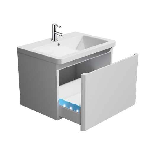 Synergy Linea White 600mm Wall Mounted Vanity Unit (with LED lit drawer) and Basin