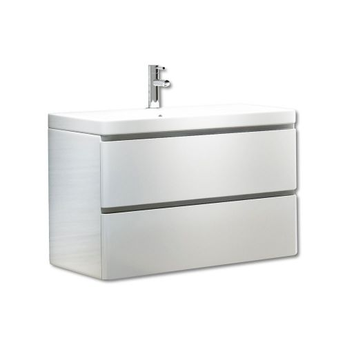Synergy Linea White 800mm Wall Mounted Vanity Unit and Basin