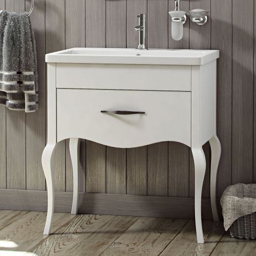 Synergy Paris White 800mm Floor Mounted Vanity Unit with Basin