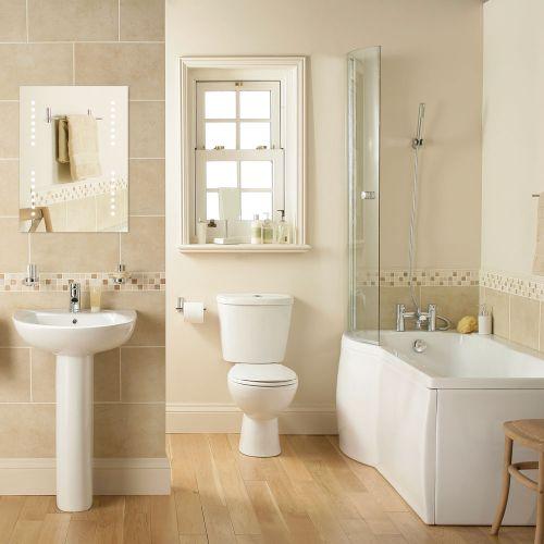 P Shape Shower Bath Suite