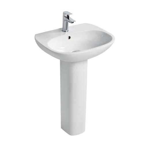 Ideal Standard Tesi Basin 50cm 1 Tap Hole With Full Pedestal
