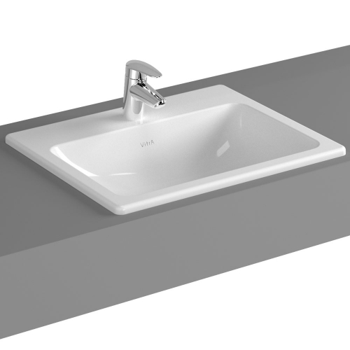 Vitra S20 Countertop Washbasin Square 55cm 1 Tap Hole 5465B003-0001