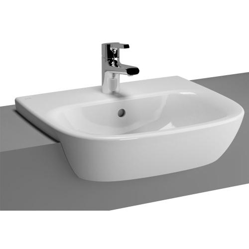 Vitra Zentrum Semi-Recessed Washbasin 50cm 1 Tap Hole 5635B003-0001