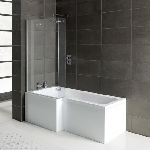 L Shape Shower Bath, Front Panel & Screen