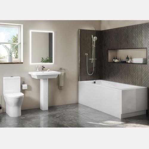 Straight Shower Bath Suite With Basin, Pedestal & Toilet