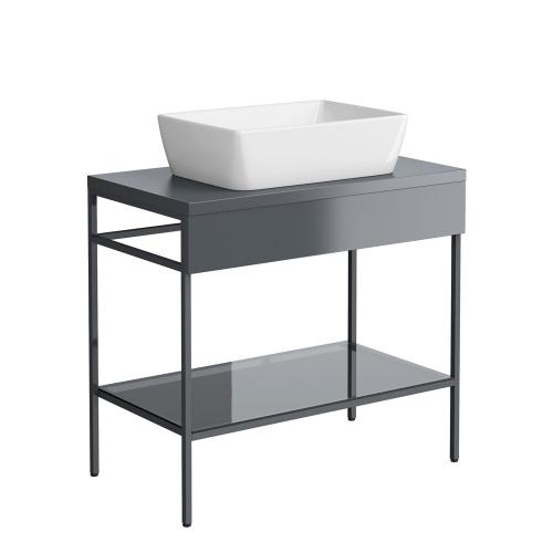 Synergy Berg Grey 800mm Floor Standing Furniture Unit & Countertop Basin