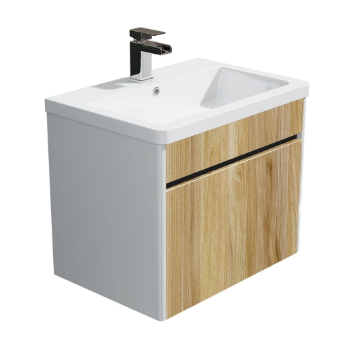 Synergy Float Driftwood 600mm Wall Mounted Vanity Unit and Basin