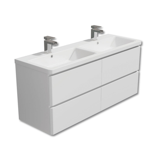 Synergy Linea White 1200mm Wall Mounted Vanity Unit and Double Basin