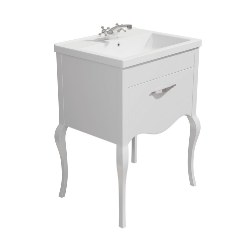 Synergy Paris White 600mm Floor Mounted Vanity Unit with Basin