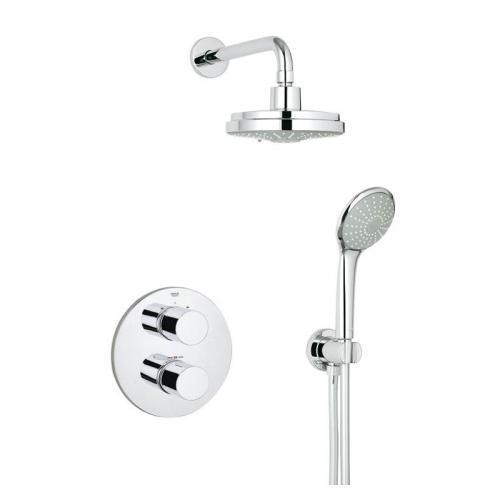 Grohtherm 3000 Shower Mixer With Rainshower Head - Cosmopolitan Perfect Shower Set 160