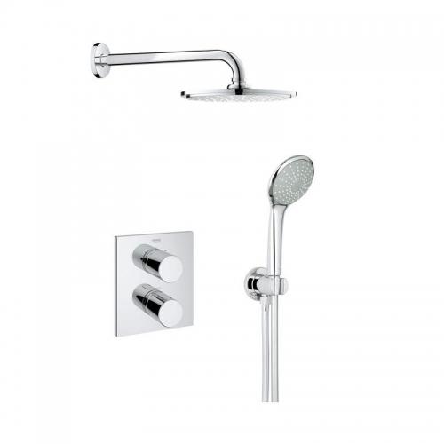 Grohtherm 3000 Shower Mixer With Rainshower Head - Cosmopolitan Perfect Shower Set 210
