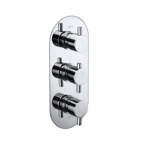 Synergy Triple Concealed Oval Shower Valve With Diverter - Round Handles