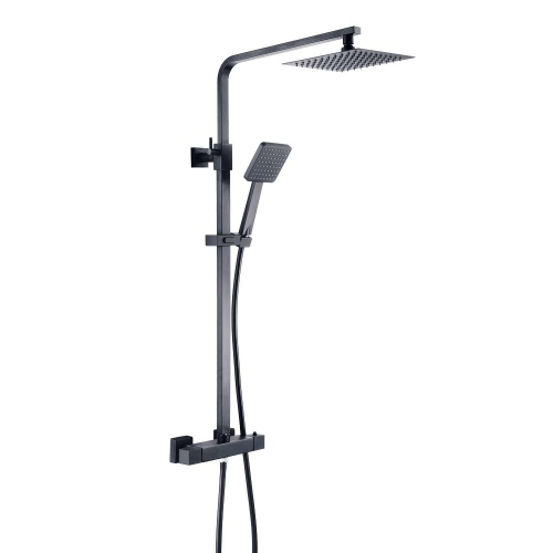 Severn Black Square Exposed Adjustable Thermostatic Shower - By Voda Design