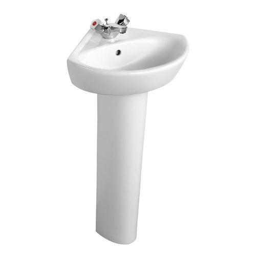 Armitage Shanks Sandringham 21 Corner Washbasin 48cm 1 Taphole With Pedestal